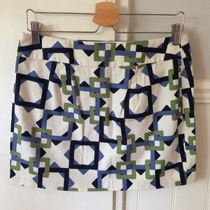 Tile chain print cotton mini skirt back zip